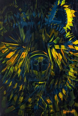 Electro Bear, size 24x36 in., original not available, canvas giclée print available in size R5