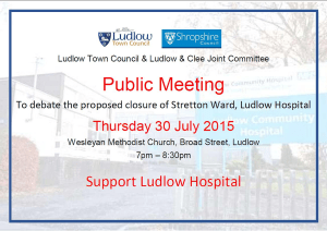 Thursday night – urgent public meeting on Ludlow Hospital ward closure on amid fears the hospital could close