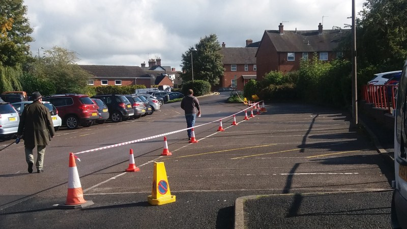 Why were nearly 20 parking spaces coned off in Ludlow today?