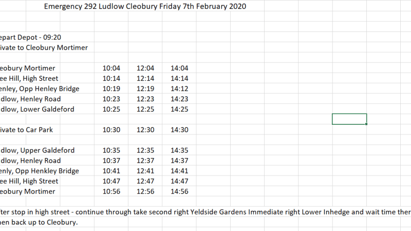 Emergency shuttle bus between Ludlow and Cleobury Mortimer today