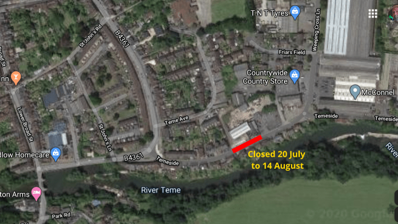 Temeside to be closed near former gasworks for a month from 20 July for essential gas mains work