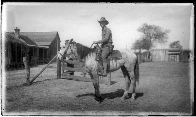 Photo of Cowboy on a Horse near Homestead
