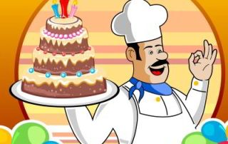 Baker, Cake & Balloons by digitalart & freedigitalphotos.com