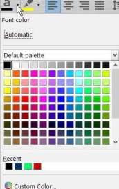The new font color selection menu.