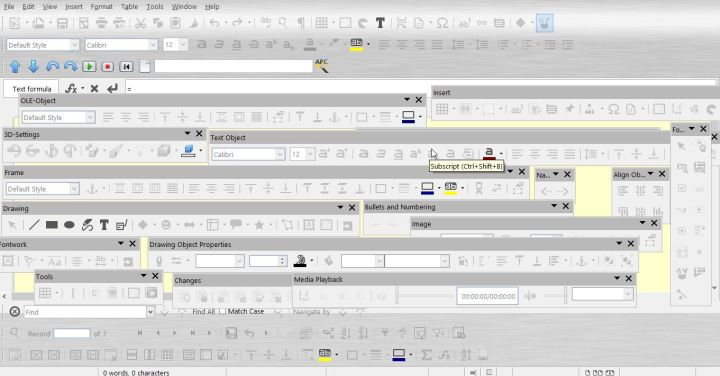 Toolbars galore, in LibreOffice