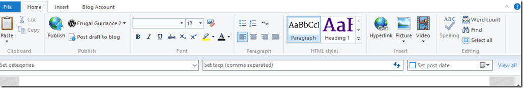 The Home Toolbar in Open Live Writer