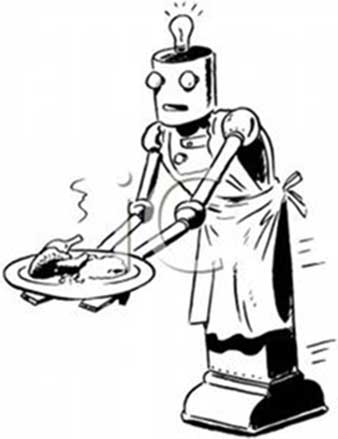 A vintage image of a robot serving a dinner.