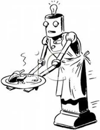 A vintage image of a robot serving a dinner.