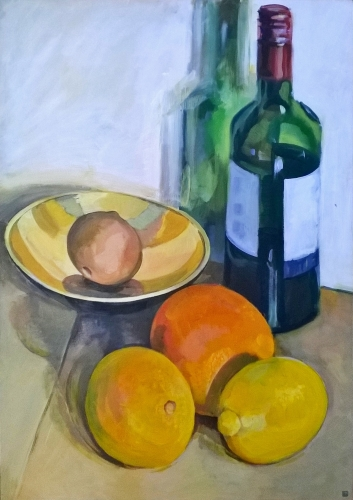 Still Life with Oranges and Lemon (acrylic on Paper on Board 58cm x 83cm)