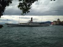 Paddlesteamer with Chateau de Chillon in background.