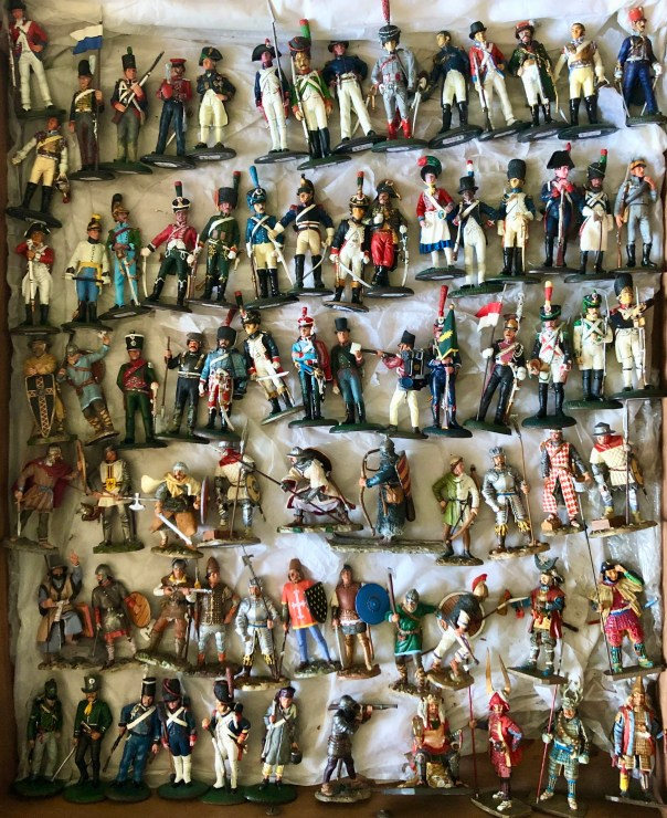 Del Prado Napoleonic, Ancients and Samurai on foot, toy soldiers, Portobello road, stall 5, London, England.