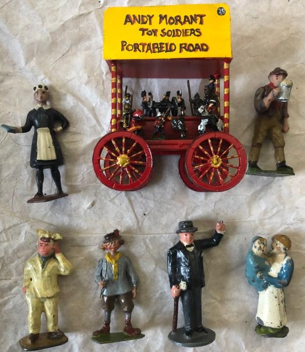 Lead toy figure market stand. Stall 5 , Saturdays, Portobello Road, we are back. Market stand portobello road with a few local characters.