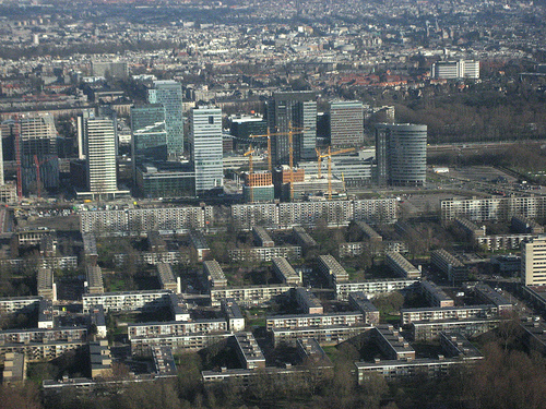 Flying into Amsterdam, buildings.