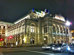 Vienna Staatsoper at night.
