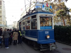 Historic tram operated on Zürich Museumsline, March 2013.