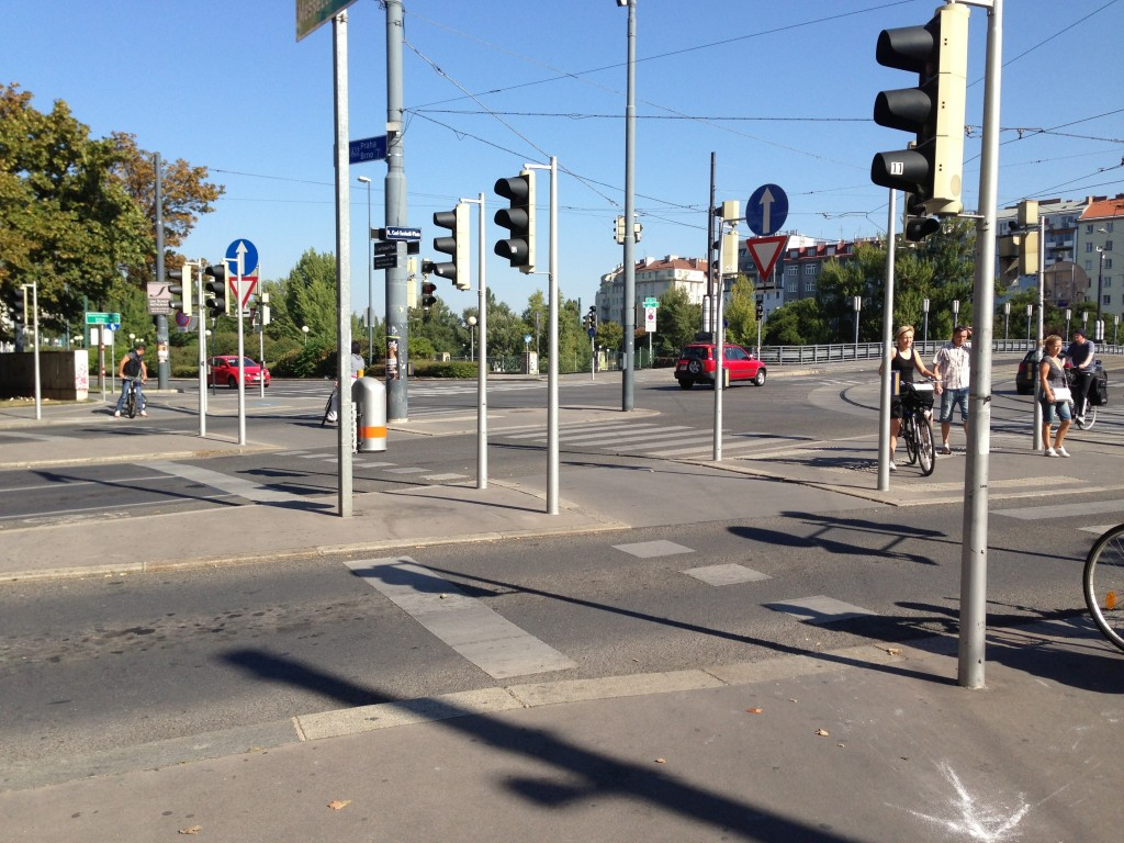The intersection of Maria-Theresien-Strasse and Franz-Josefs-Quai in Vienna is a good example of where the streets prioritise movement of automobiles over pedestrians and bikes.