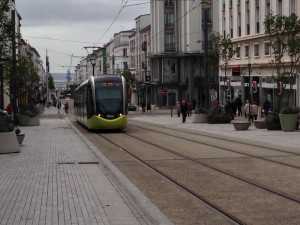 LRT on pedestrian mall in centre of Brest, France (October 2013).