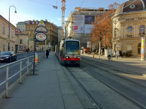 Vienna Ultra Low Floor (ULF) tram at Volkstheater Station heading towards Dr Karl Renner Ring.