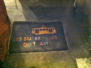 Door mat at Les Super Filles du Tram restaurant in Brussels - neat.