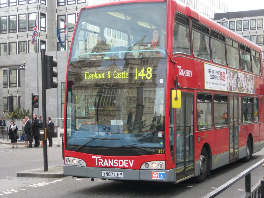 Photo of a London double deck bus (2009).