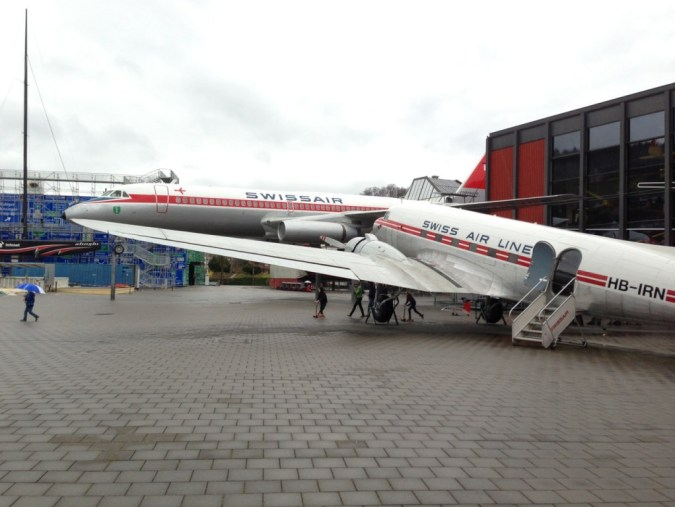 DC-3 and Coronado Airplanes at the Verkehrshaus - Swiss Transport Museum - Lucerne