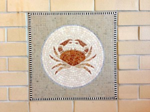 Crab mosaic in San Francisco's Ferry Building.