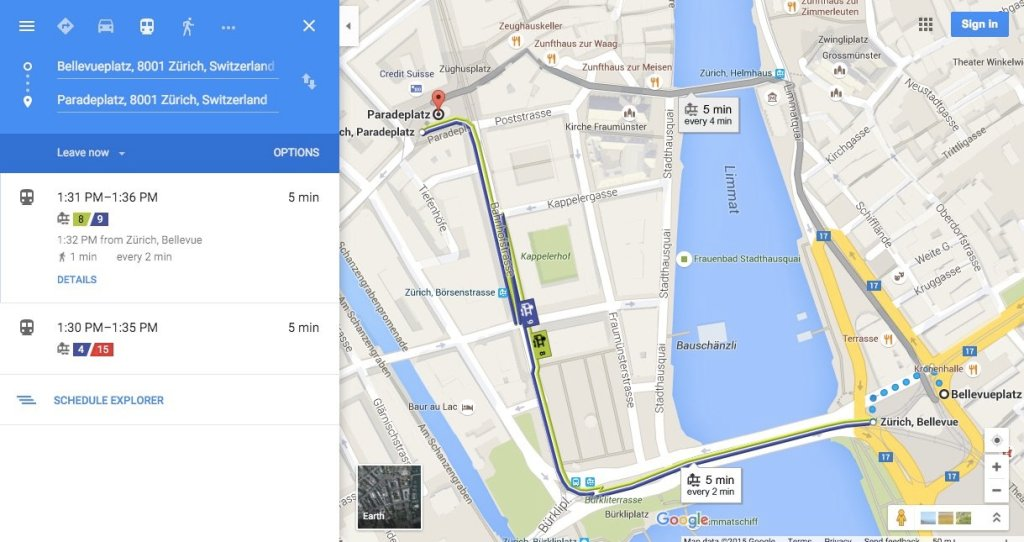 Screenshot of Google Maps map of Zurich showing public transport lines (2015).