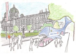 Drawing of a whale shaped WC in front of Vienna's NHM