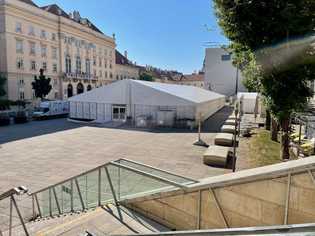 Photo of Vienna Museumsquartier courtyard filled with large tent