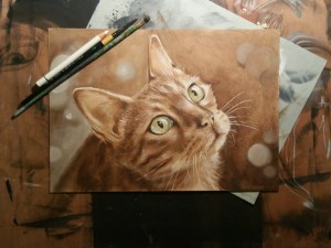 Bengal cat in oil paint
