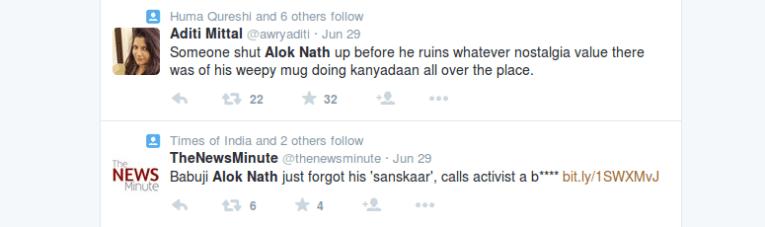 Internet responds to Alok Nath's hate speech