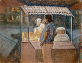 "Eating at Aru's - 35x45"" - Pastel, chalk and charcoal on paper"