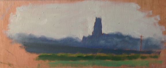 "Dawn Over Winterton Church - 5x12"" - Oil on panel."