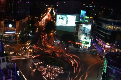 This photo taken from a rooftop bar shows how busy the main roundabout is!