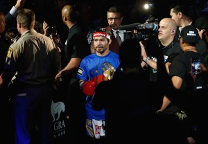 LAS VEGAS, NEVADA - APRIL 09: Manny Pacquiao enters the arena before facing Timothy Bradley J. in their welterweight championship fight on April 9, 2016 at MGM Grand Garden Arena in Las Vegas, Nevada. (Photo by Christian Petersen/Getty Images)