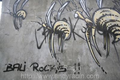 street art in Kuta's narrow concrete maze
