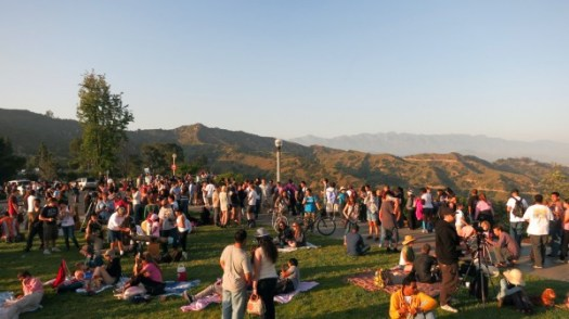 griffith park observatory during 2012 annular solar eclipse