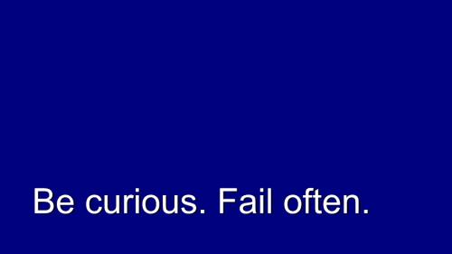 Relish. Be Curious. Fail Often