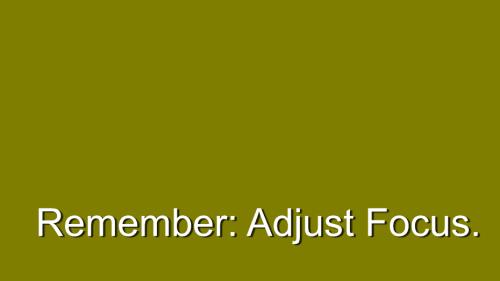 Relish. Remember Adjust Focus