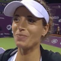 Announcer Andy Taylor. Tennis Interviews. Doha 2014. Petra Cetkovska