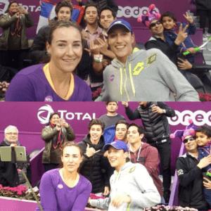 Abigail Spears and Katarina Srebotnik. Selfie time with fans