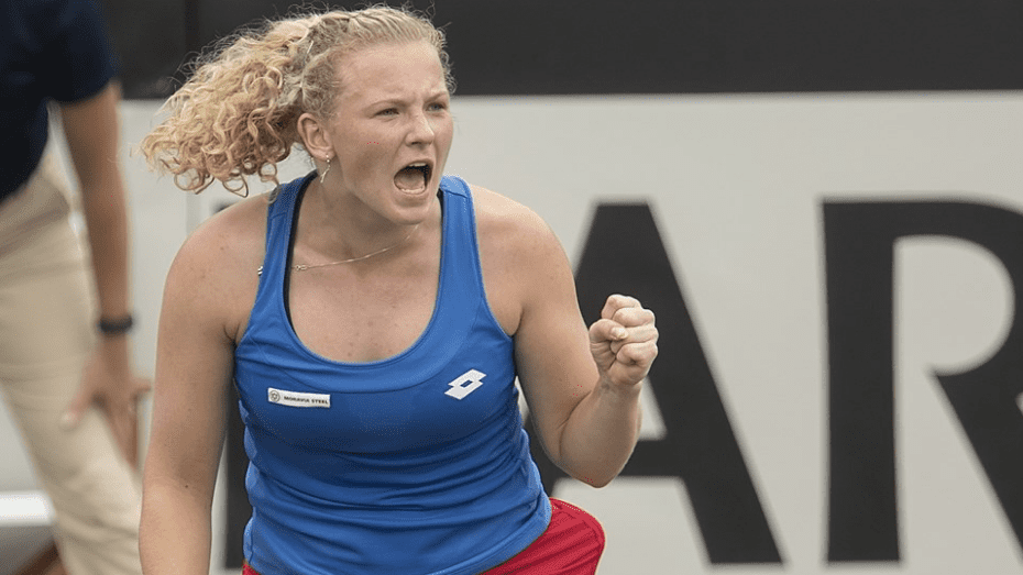 Katerina Siniakova earns her first Fed Cup singles win, leveling the tie for the Czech Republic. © Susan Mullane