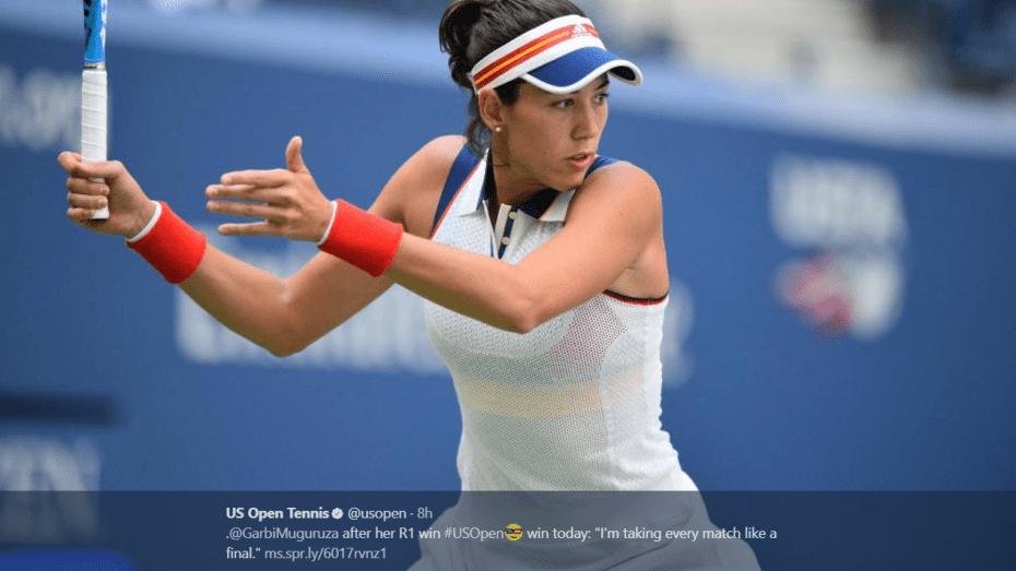 Andy Taylor. Emcee. 2017 US Open. Round-1. Day-1. Garbine Muguruza defeats Varvara Lepchenko