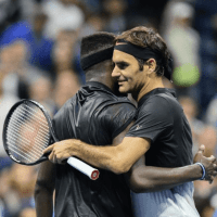 Andy Taylor. Tennis Emcee. 2017 US Open. Round-1. Day-2. Roger Federer defeats Frances Tiafoe