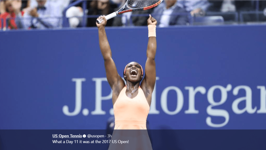 Andy Taylor. Emcee. 2017 US Open. Semifinal. Day-11. Sloane Stephens defeats Venus Williams