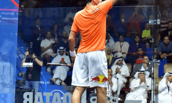 Andy Taylor. Sports Announcer. Qatar Classic Squash Championship. Day 5. Semifinals. Mohamed ElShorbagy