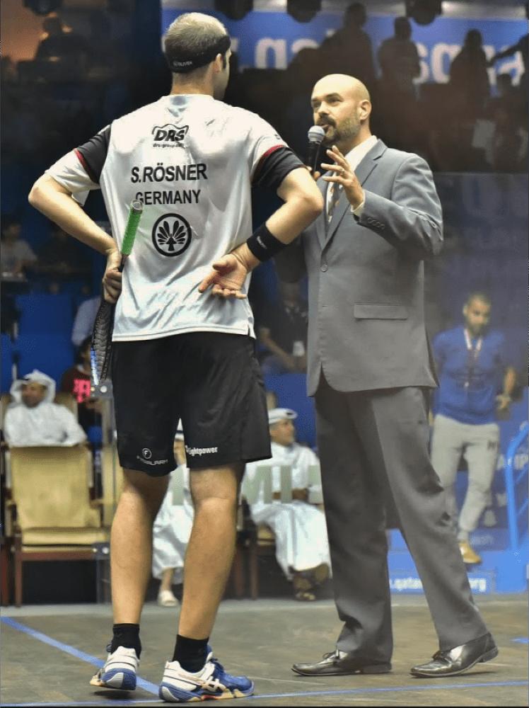 Andy Taylor. Host. Announcer. Qatar Classic Squash Championship 2017. Simon Rösner