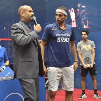 Andy Taylor. Host. Announcer. Qatar Classic Squash Championship 2017. Trophy Presentation