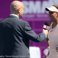 Announcer Andy Taylor. Qatar Total Open 2018. Round-1. Day-2. Madison Keys