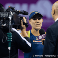 Sports Host Andy Taylor. Qatar Total Open 2018. Round of 16. Day-4. Angelique Kerber